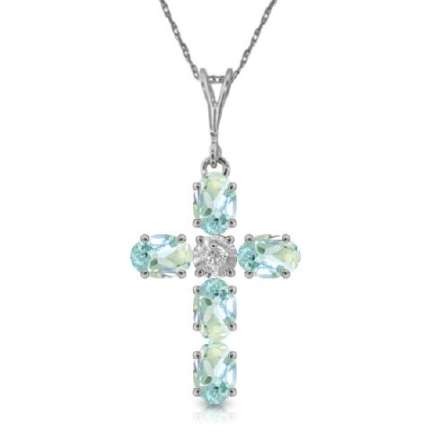 aquamarine gemstones real cross pendant