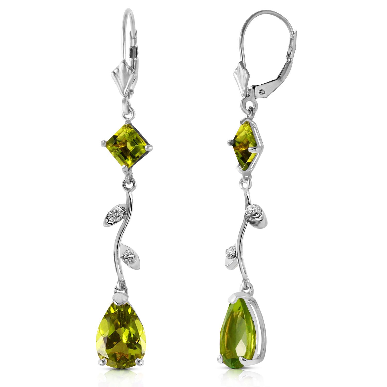 397 carat 14k solid white gold chandelier earrings diamond peridot image is loading 3 97 carat 14k solid white gold chandelier aloadofball Choice Image