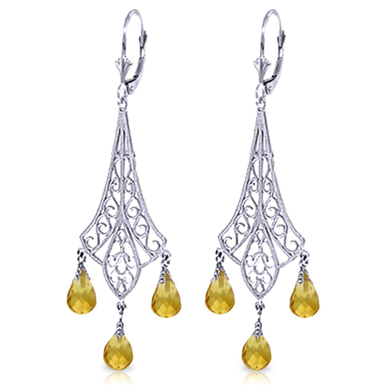 42 carat 14k solid white gold chandelier earrings briolette citrine image is loading 4 2 carat 14k solid white gold chandelier aloadofball Choice Image