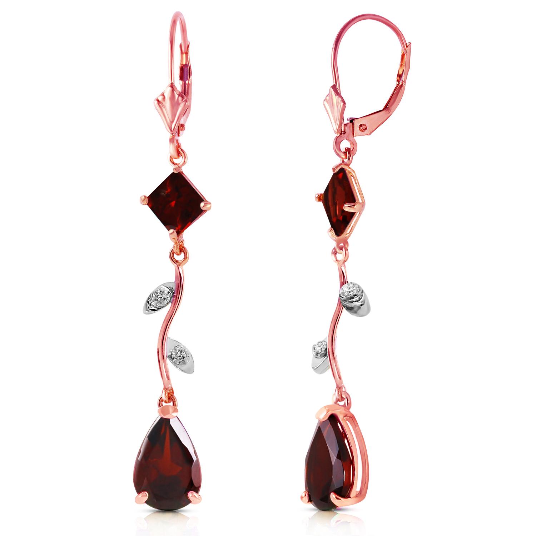 397 ctw 14k solid rose gold chandelier earrings diamond garnet ebay image is loading 3 97 ctw 14k solid rose gold chandelier arubaitofo Choice Image