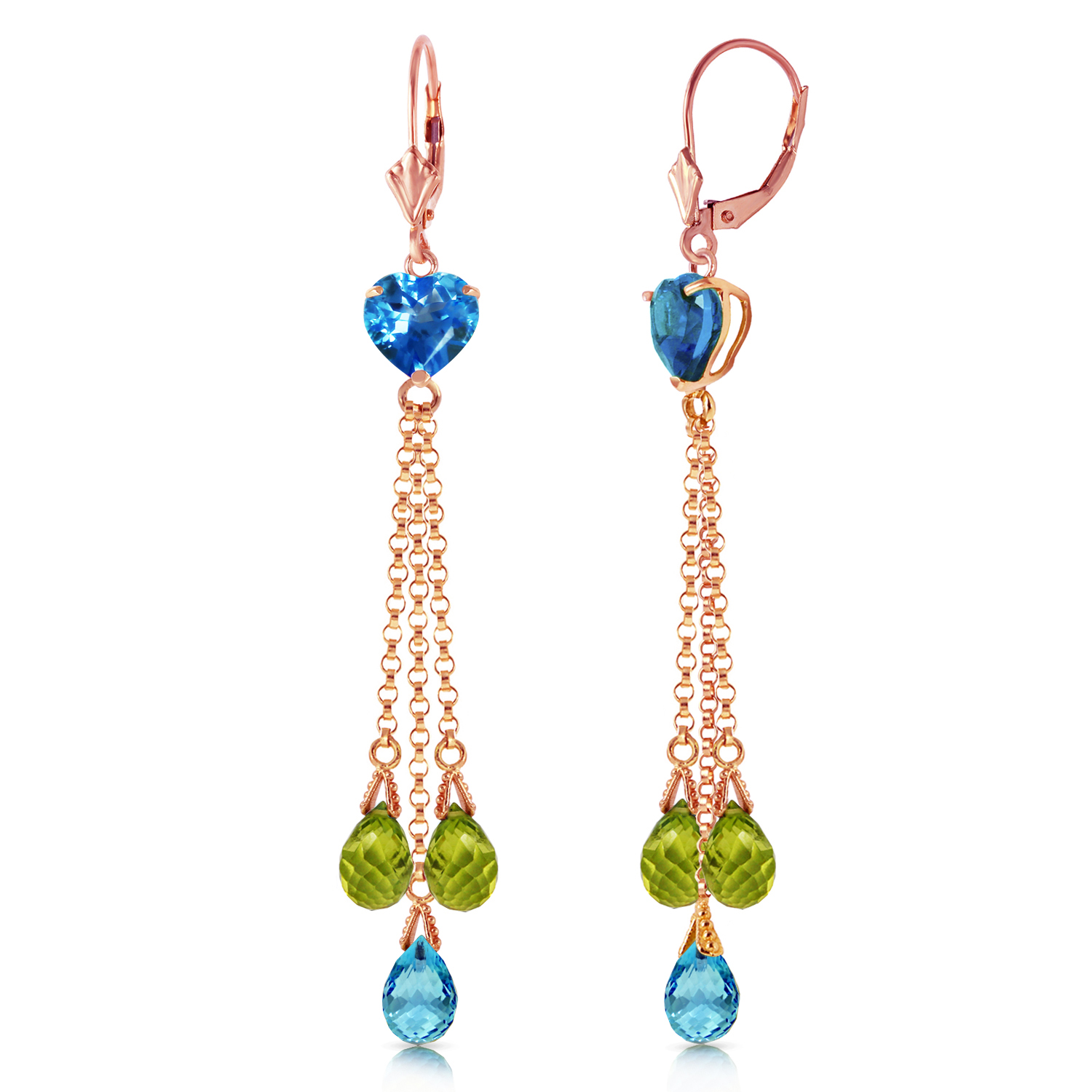 14K Solid Rose Gold Chandelier Earrings Briolette Blue Topaz