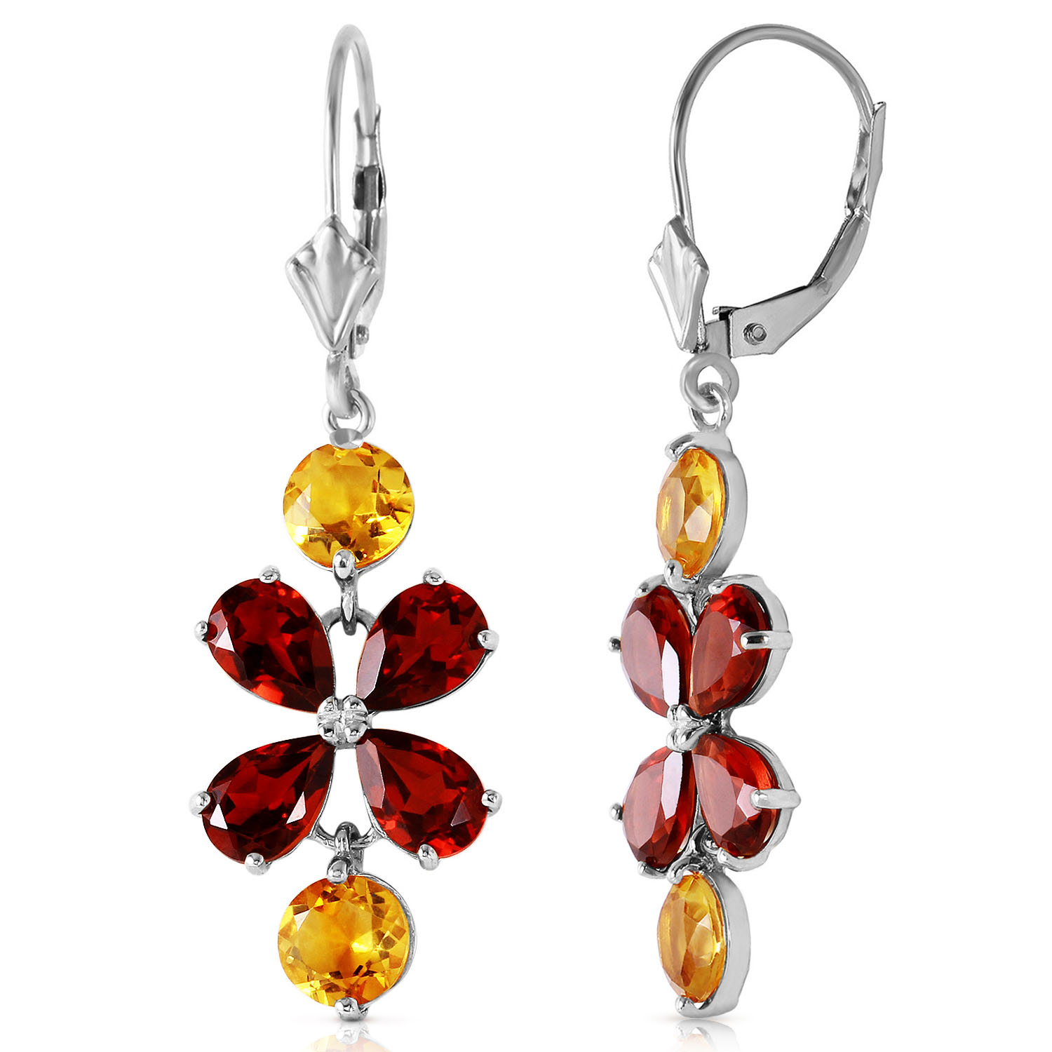 532 ctw 14k solid white gold chandelier earrings citrine garnet ebay image is loading 5 32 ctw 14k solid white gold chandelier mozeypictures Gallery