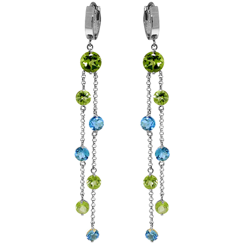 899 ctw 14k solid white gold chandelier earrings peridot blue topaz image is loading 8 99 ctw 14k solid white gold chandelier aloadofball Images