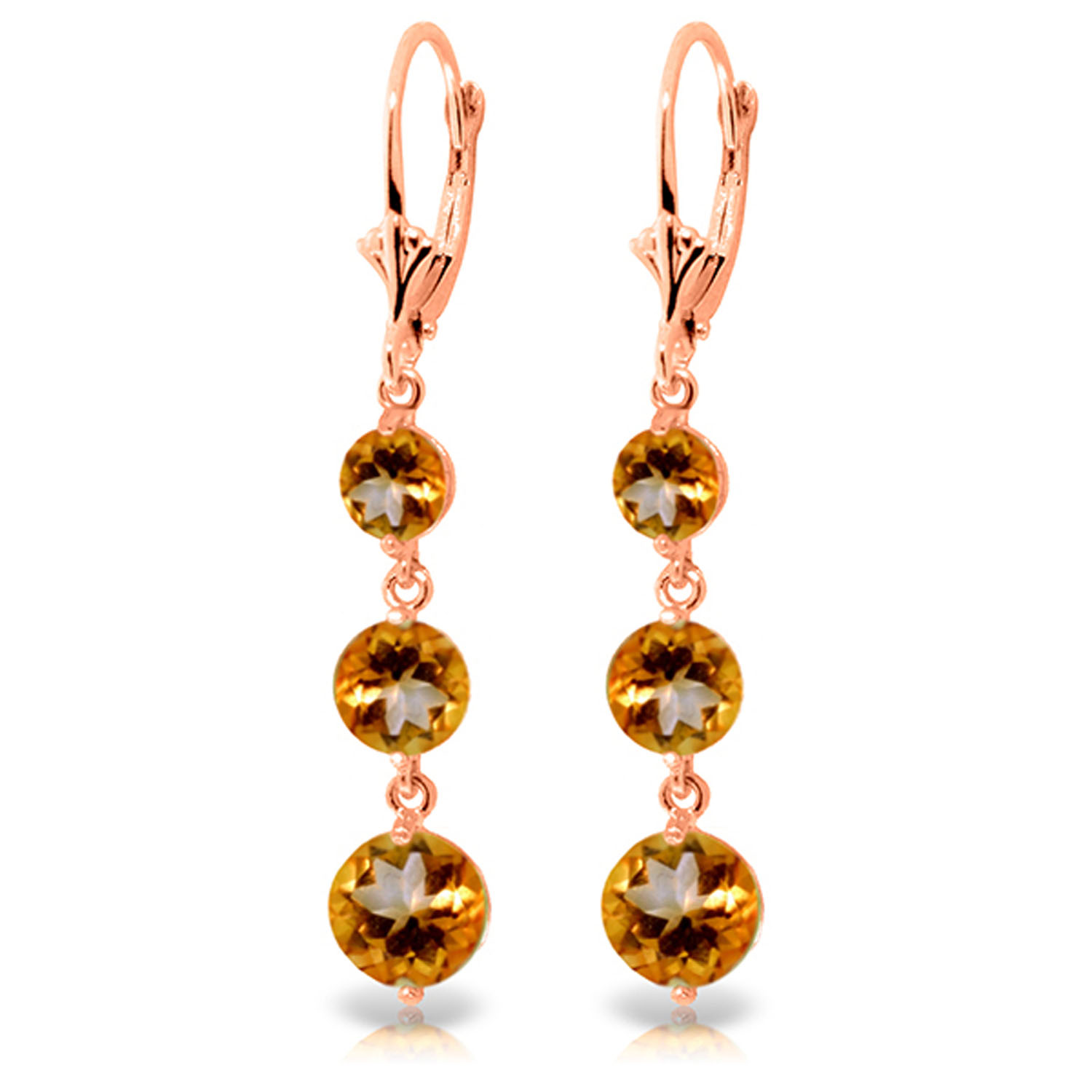 7 2 Carat 14K Solid Rose Gold Chandelier Earrings Citrine