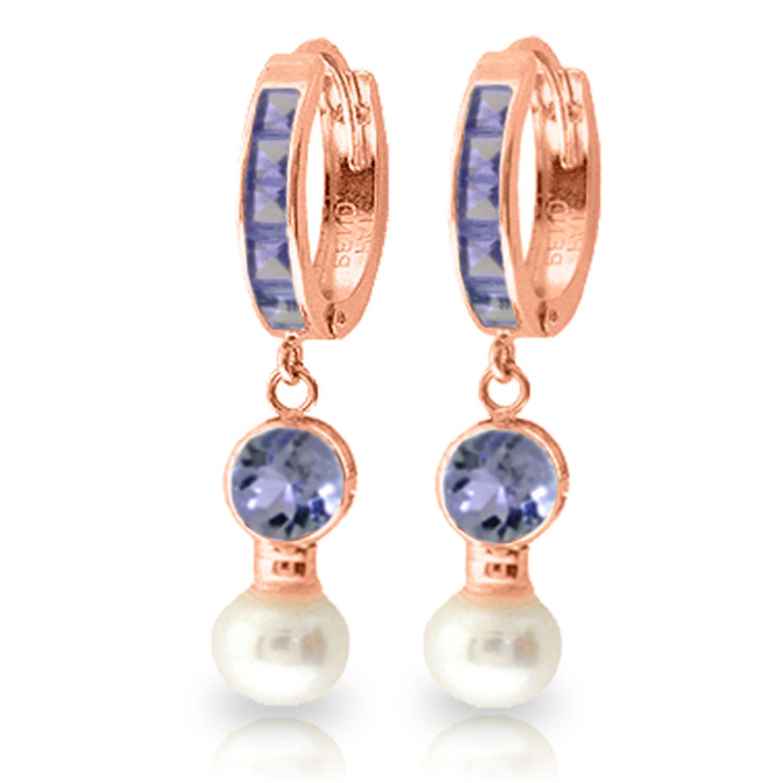Pearl Tanzanite: 4.65 Carat 14K Solid Rose Gold Huggie Earrings Pearl