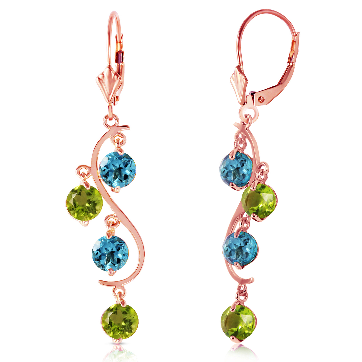 4 94 Carat 14K Solid Rose Gold Chandelier Earrings Blue Topaz