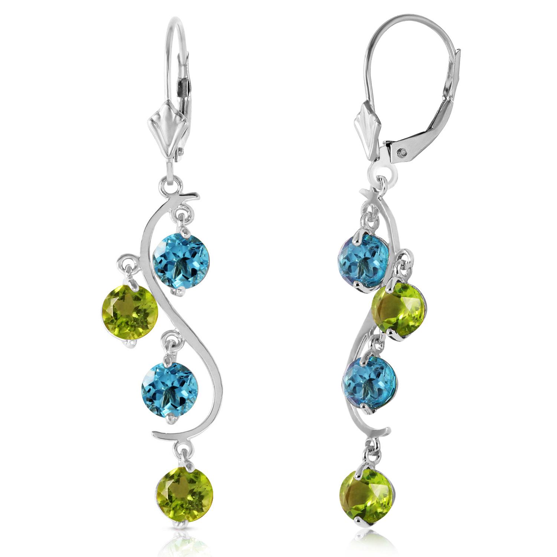 494 carat 14k solid white gold chandelier earrings blue topaz image is loading 4 94 carat 14k solid white gold chandelier aloadofball Images