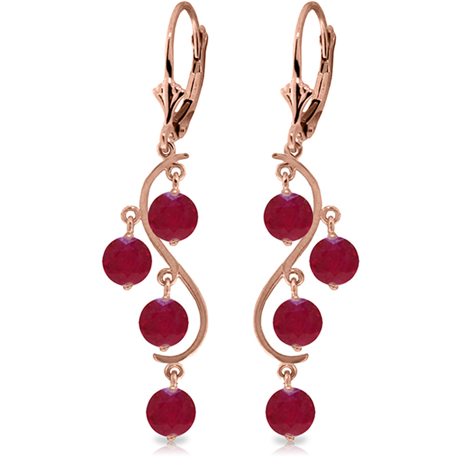 4 Carat 14K Solid Rose Gold Chandelier Earrings Natural Ruby