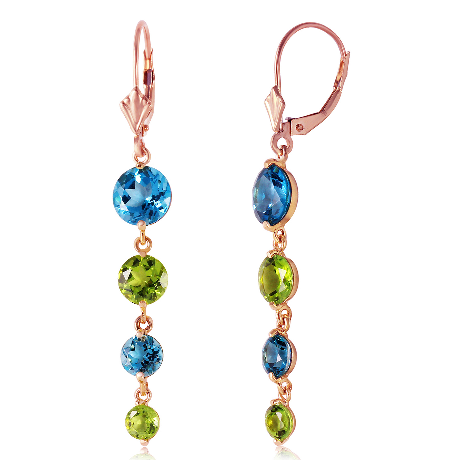 14K Solid Rose Gold Chandelier Earrings with Blue Topaz & Peridot