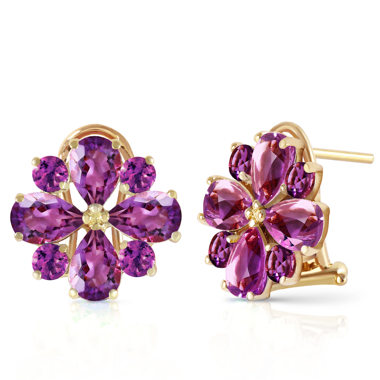 ctw 14k solid gold fiore amethyst earrings ebay. Black Bedroom Furniture Sets. Home Design Ideas