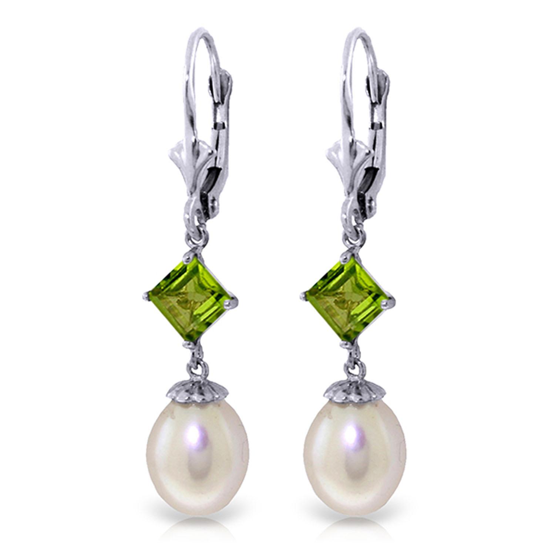 9.5 Carat 14K Solid White gold Endowed pearl Peridot Earrings