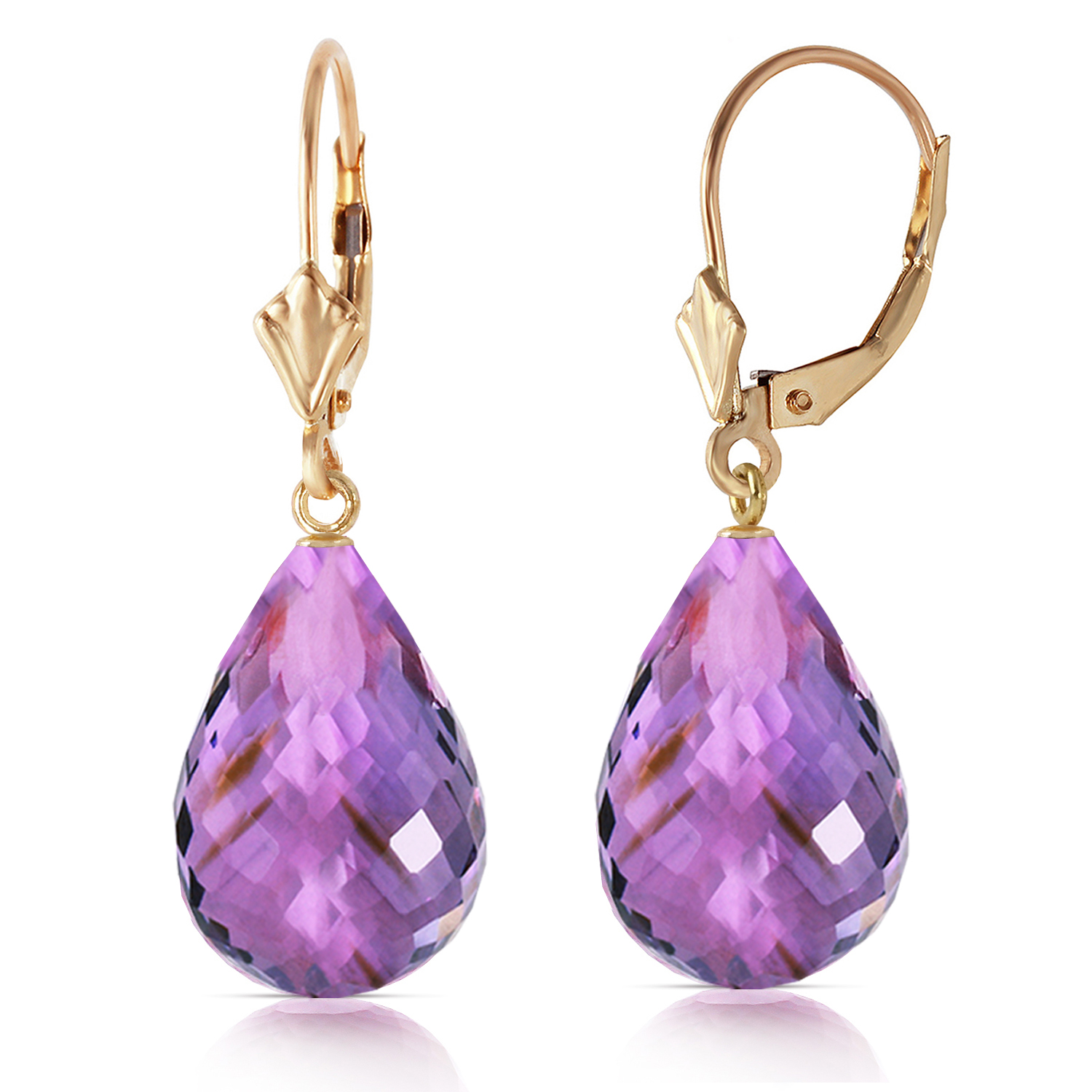 14 carat 14k solid gold loveliness amethyst earrings ebay. Black Bedroom Furniture Sets. Home Design Ideas