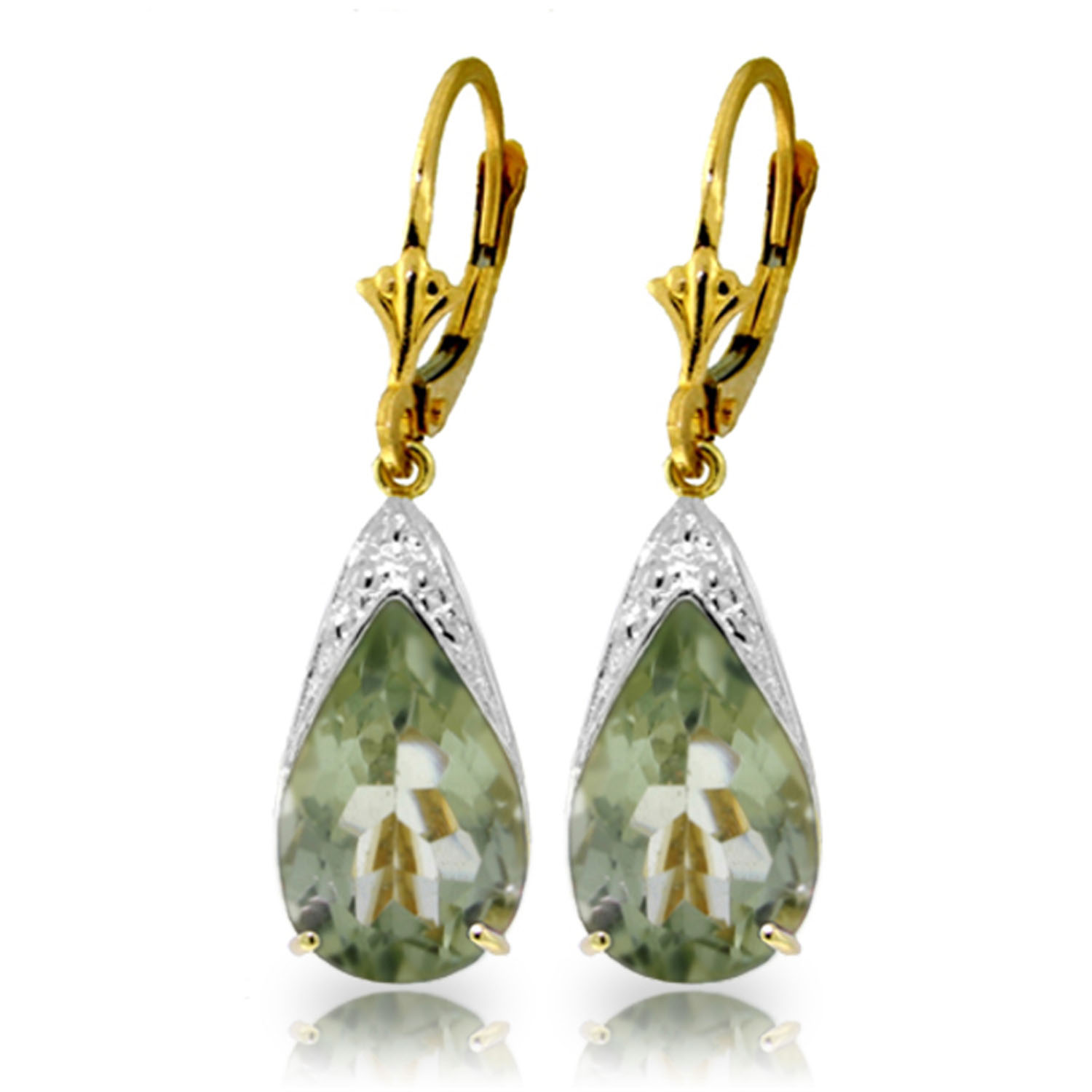 10 carat 14k solid gold leverback earrings natural green. Black Bedroom Furniture Sets. Home Design Ideas