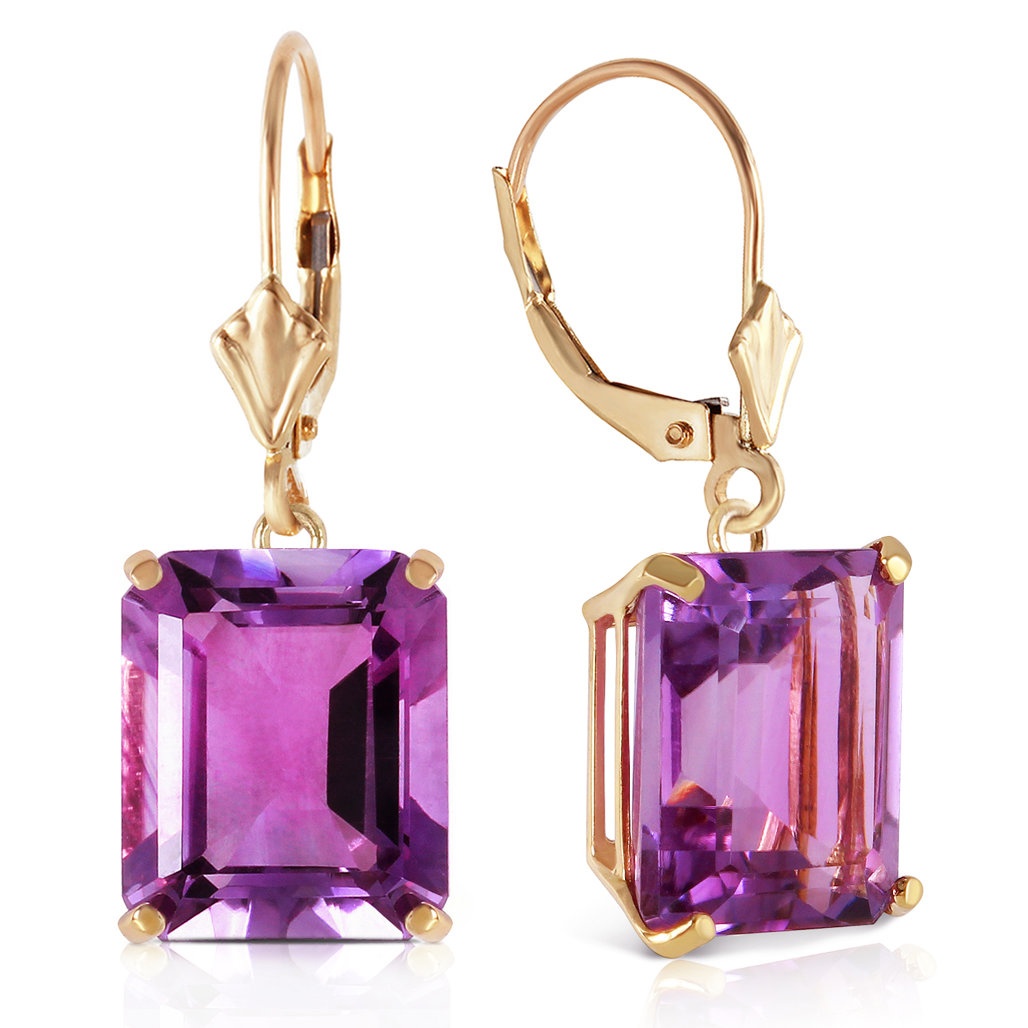 13 carat 14k solid gold leverback earrings amethyst ebay. Black Bedroom Furniture Sets. Home Design Ideas