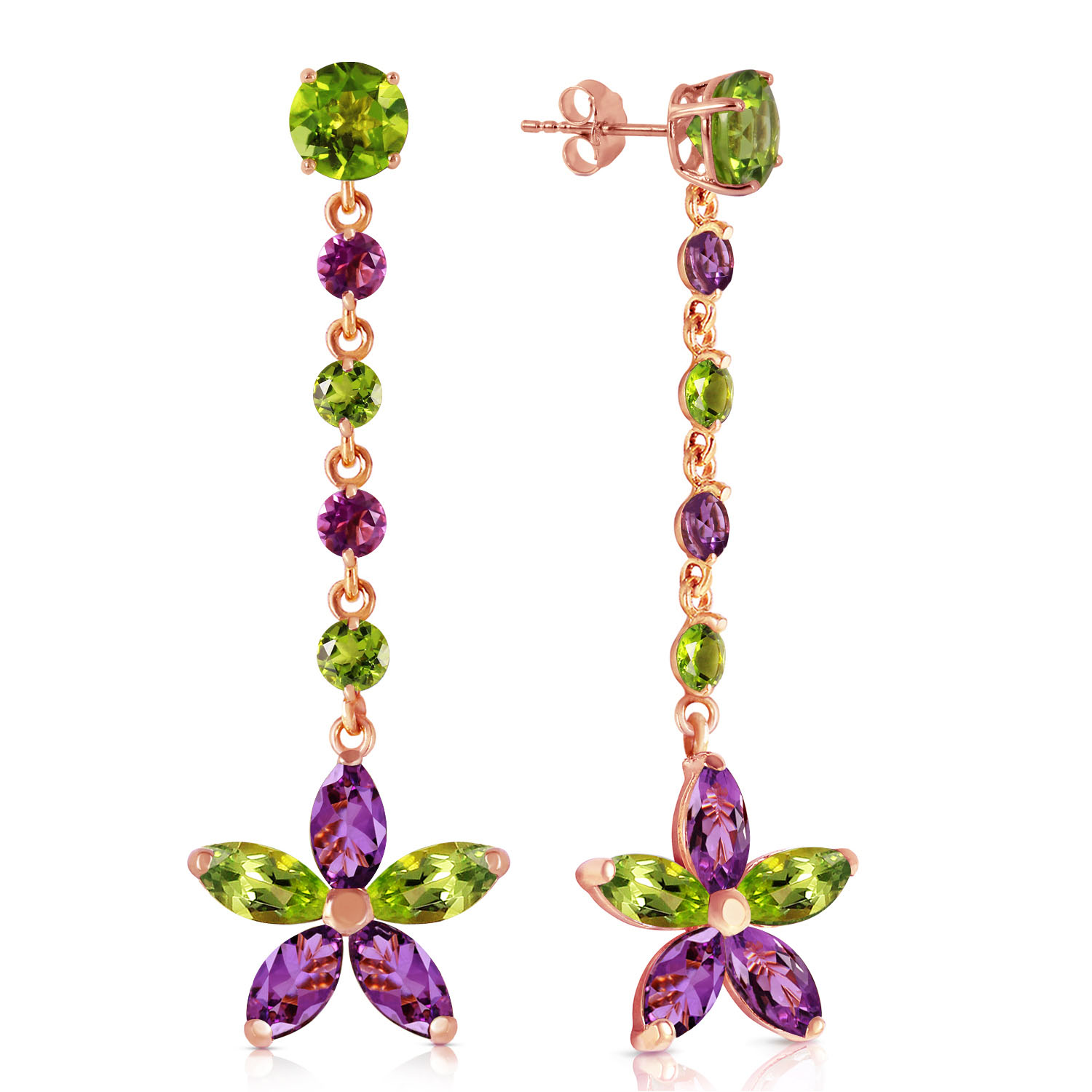 14K Solid Rose Gold Chandelier Earrings with Peridot & Amethyst