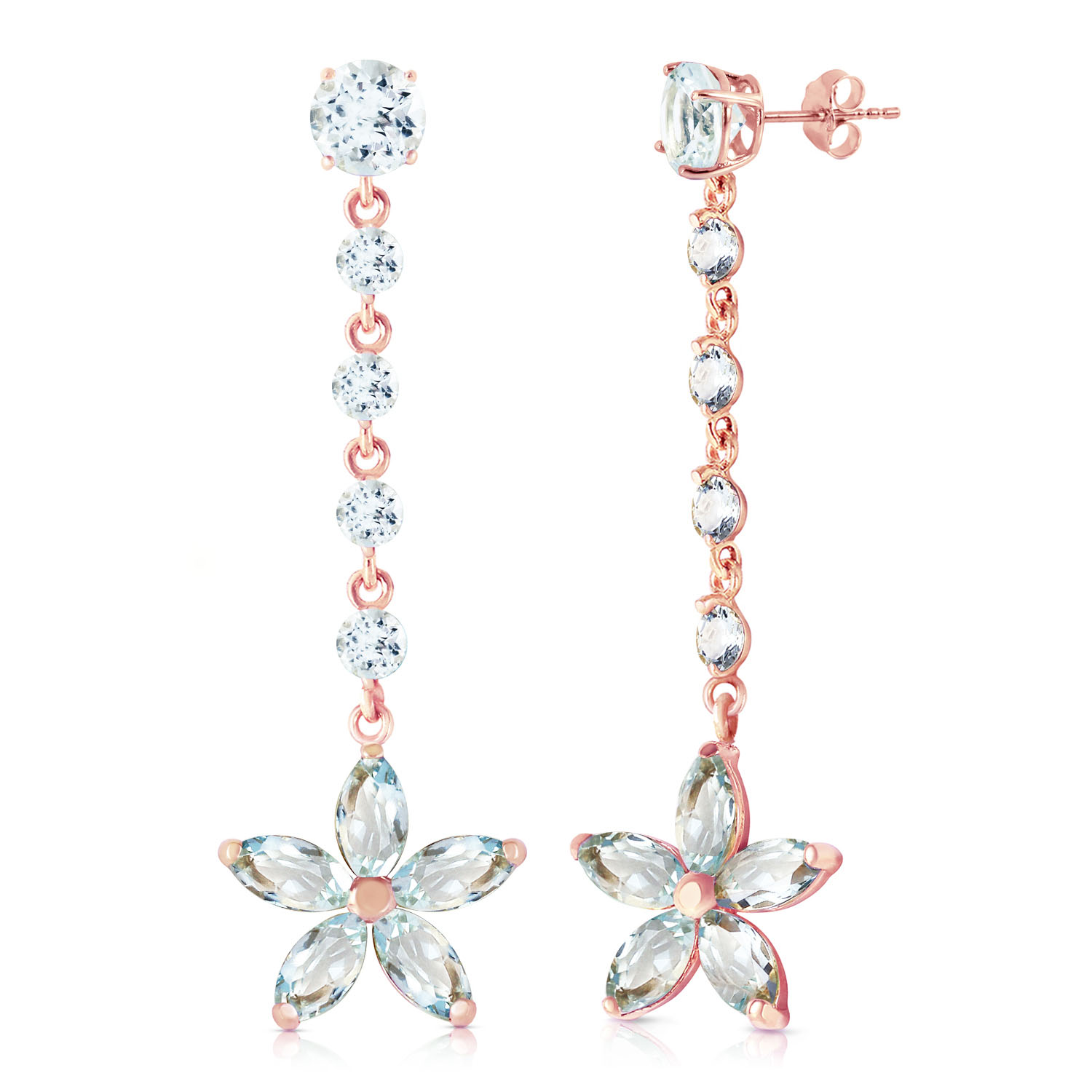 14K Solid Rose Gold Chandelier Earrings with Aquamarines