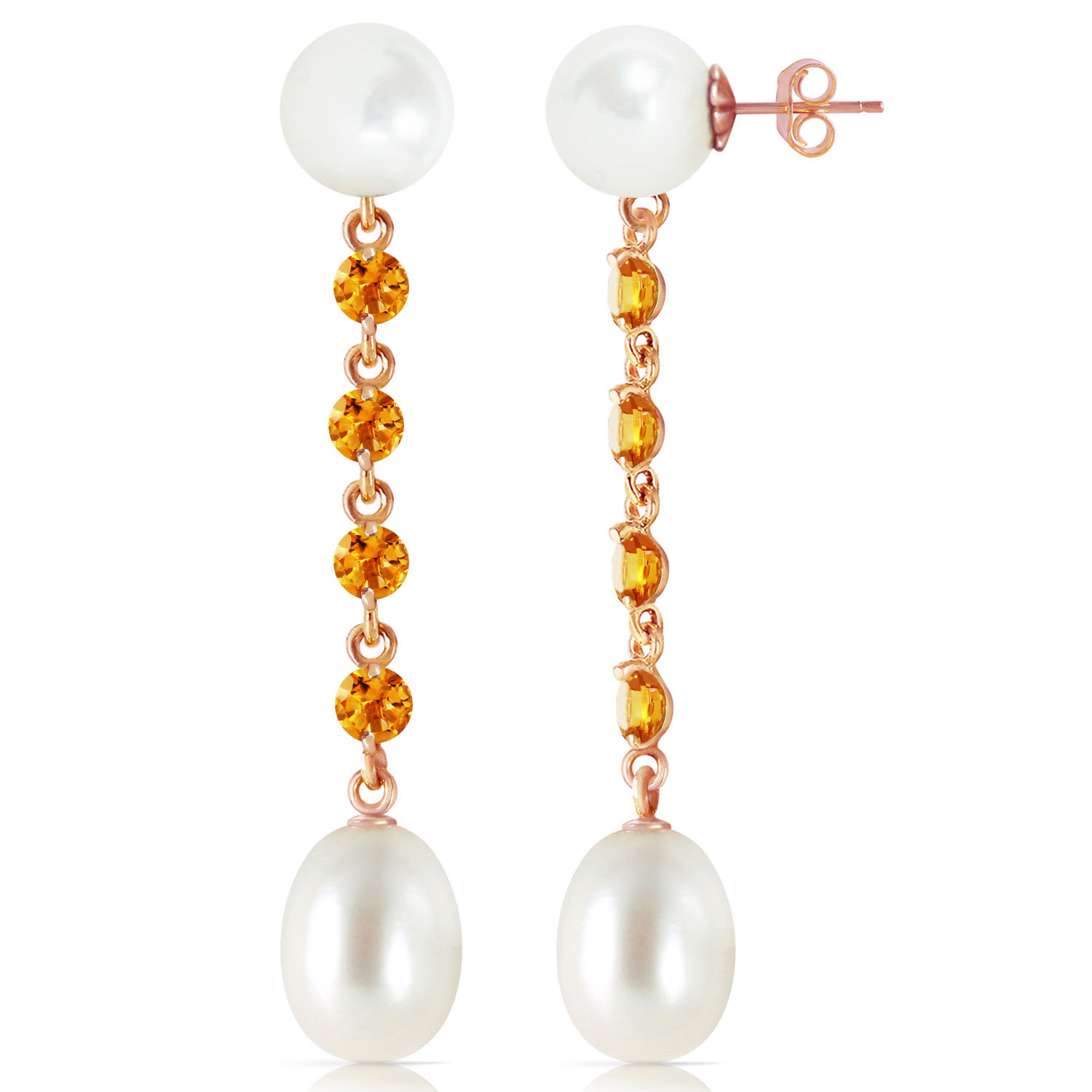 14K Solid Rose Gold Chandelier Earrings with Citrines & pearls