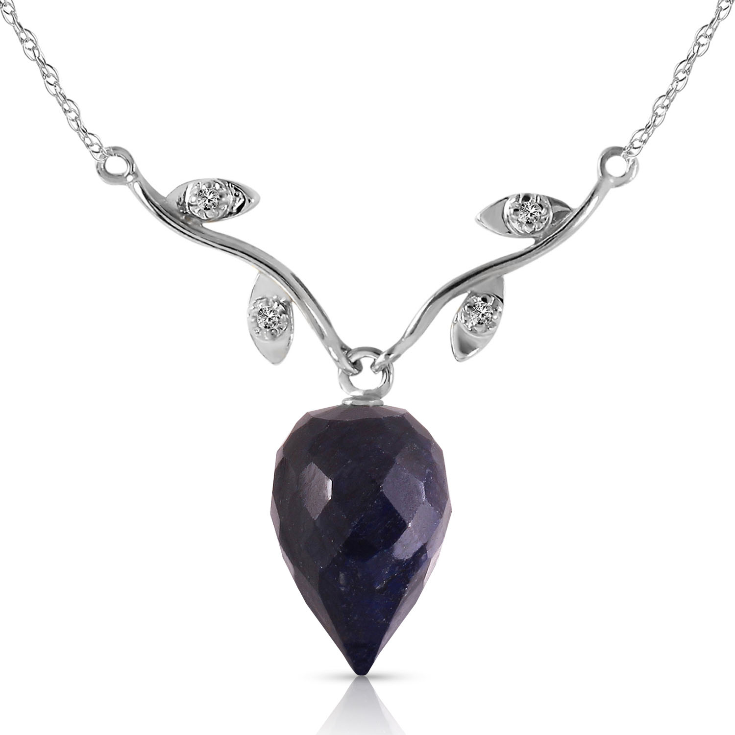 """12 92 CTW 14K Solid White gold Sapphire Diamond Necklace 16 24"""""""