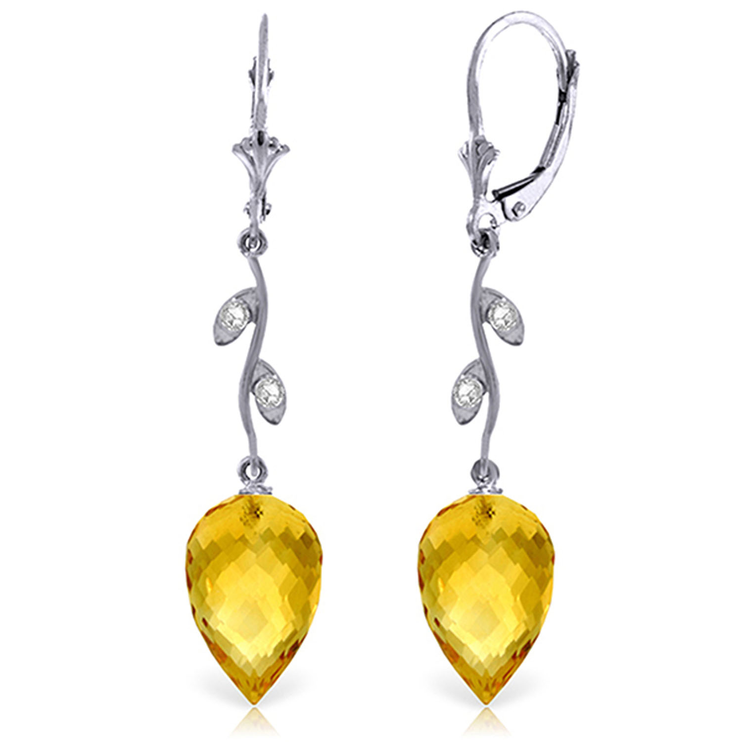 Details About 19 02 Ctw 14k Solid White Gold Diamond Drop Citrine Earrings