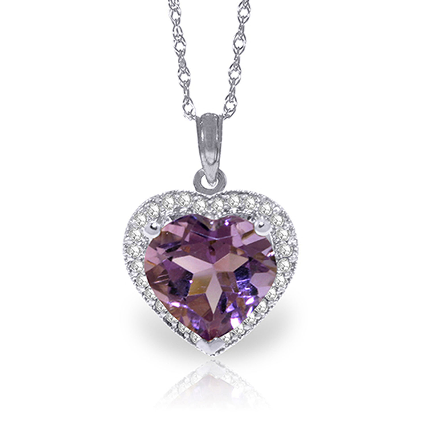 Ctw 14k solid white gold fine another day amethyst for Fine jewelry diamond pendants